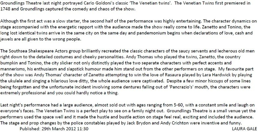 The Venetian Twins Review