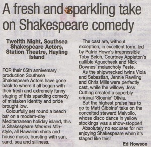Twelfth Night Southampton Echo